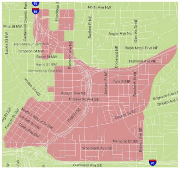 Affected ETAD areas in Sweet Auburn